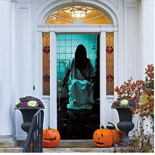 Halloween Tür Aufkleber Wohnkultur Selbstklebende Diy Mural Poster Pvc Wasserdichte Aufkleber Wandtür Aufkleber 77X200 Cm Türaufkleber ()