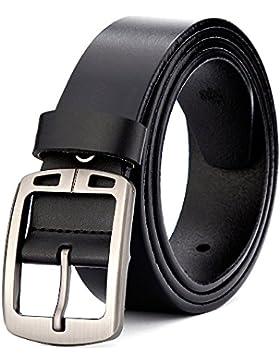 MUCO Cinturón De Cuero Negro Y Marrón Con Hebilla Plateada