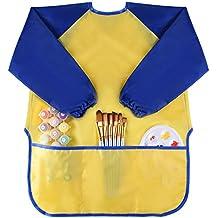 Kuuqa Impermeable Delantales de Niño para Cocina y la Pintura Manga Larga (Pinturas y cepillos no incluido)