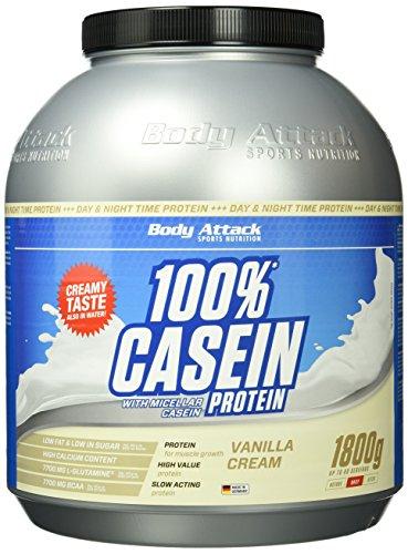 Body Attack 100{921bfa7d8f8db30e95096ae6a4be9b411480d77d0e4f436489776738638d2952} Casein Protein Vanilla Cream, 1er Pack (1 x 1.8 kg)