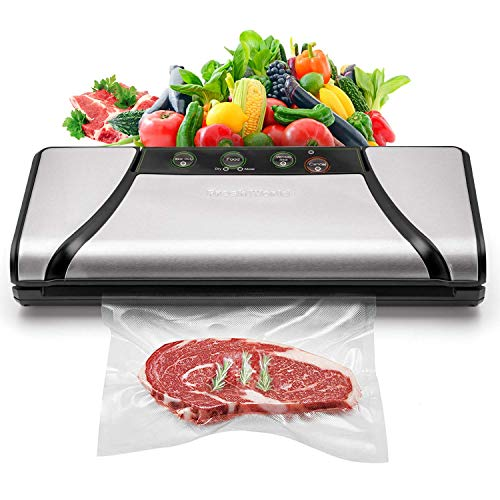 FRESHWORLD New Latest Model for Year 2019, Vacuum Sealer TVS 2019 ,75kpa Pump, 4-in-1 Automatic Food Saver with Cutter & Sous Vide Vacuum Sealing Bags, Stainless Steel Vacuum Packing Machine for Dry&Moist Food