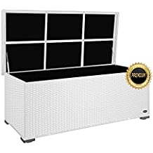 """PREMIUM """"Sienna"""" 650 L Kissenbox aus Polyrattan (es regnet nicht rein), L 155 cm x B 73 cm x H 60 cm ideal als Sitzbank nutzbar aufgrund des verstärkten Deckel mit 2 x Gasdruckstoßdämpfer, Farbe Weiß"""