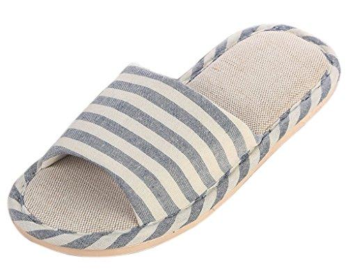 Minetom Damen Herren Flache Hausschuhe Streifen Weiche Warme Pantoffeln Slipper indoor Schuhe ( Dunkelblau EU 44 )