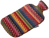 Fashy 35897.3 - Borsa per l'acqua calda con custodia a maglia, decorazione a fiore