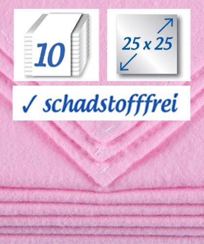 10 Stück Baby Molton Waschlappen 25x25cm Mädchen 100% Baumwolle bis 60° waschbar - das Original - der Klassiker: rezzu.®