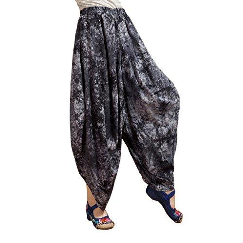 GWELL Femme Fille Sarouels Pantalon de Yoga Hippie Gypsy Pantalon de Sport Danser Imprimé Large Boho Noir