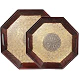 APKAMART Handicraft Brass And Wood Serving Platters - Set Of 2 - Handcrafted Decorative Serving Tray For Table Decor, Kitchen And Dining And Gifts