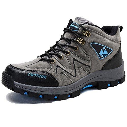 KAMIXIN Wanderschuhe Herren Bergstiefel Anti-Rutsch Wanderstiefel Leichte Hiking Sneaker Hohe Outdoorschuhe Trekkingschuhe Grau EU43