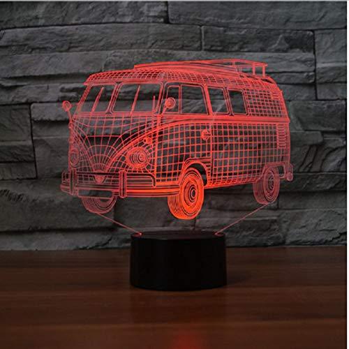 (Nachtlichter 7 Farben Ändern Acryl 3D Camping Bus Lampe Led Nachtlicht Usb Public Bus Tischlampe Schlafzimmer Dekor Schlaf Beleuchtung Kinder Geschenke)