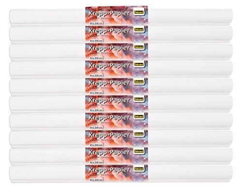 Idena 10122916 - Krepppapier, je ca. 50 x 250 cm, 10 Rollen, weiß