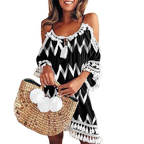 dd4fd5907b5b Kneris Vestiti Donna Estivi Boho Maniche Corte Mini Abiti da Spiaggia  Partito El