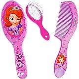 Unbekannt 2 TLG. Set _ Haarbürste + Haarkamm -  Disney - Sofia die Erste - auf einmal Prinzessin  - für Mädchen / Kinder - Schmuck Haarschmuck - Blumen rosa Accessoir..