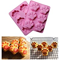 Dealglad® Perro Gato Huellas de silicona para tartas galletas Chocolate Pudín Gelatina Jabón Fondant Moldes