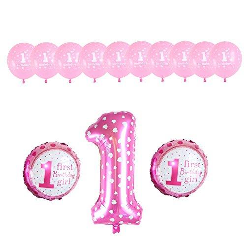Poseca Babies erstes Geburtstagsdekorationsballons-Set Folienstern Ballons aus Festem Latex Ballons Große Anzahl Ballons Perfekt für 1. Mädchen-Partyartikel für Jungen (Anzahl Luftballons Folie)