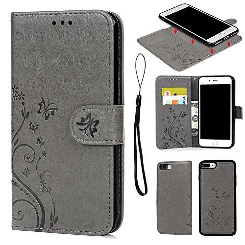 Coque de Protection pour iPhone 7 Plus 5.5 Pouces, Phone Case Flip Cover Clapet 2 en 1 PU Cuir avec TPU Souple Fermeture Magnétique Motif Relief Papillon - Gris Gris