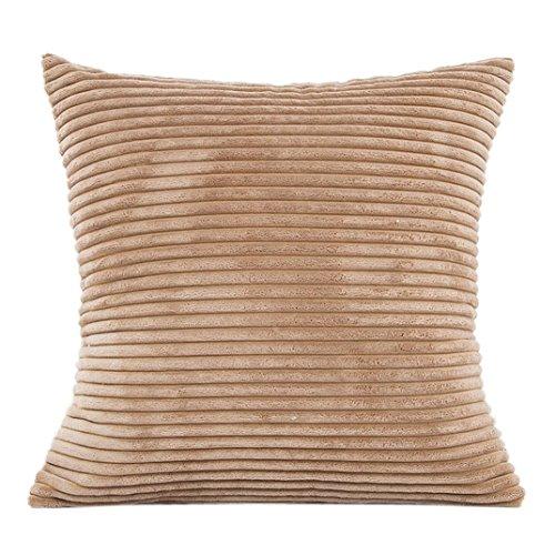 BakeLIN Kissenbezug Plüsch Einfarbig Quadrat Pillowcase Lendenkissen Kissenhuelle Sofa Haus Dekoration 45cm*45cm (45cm*45cm, Khaki) (Mikrofaser-plüsch-hase)