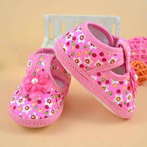 Babyschuhe Longra Baby Blume Stiefel weiche Krippe Schuhe Kind Schuhe Lauflernschuhe(0 ~ 10 Monate) Pink