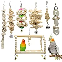 7 Packs Bird Parrot Swing Chewing Toys-Hanging Bell Bird Cage Toys Suitable for Small Parakeets, Cockatiels, Conures, Finches,Budgie,Macaws, Parrots, Love Birds