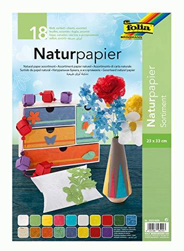 folia 58231809 - Naturpapier Sortimentspack, 18 Blatt, 23 x 33 cm, mit Maulbeerbaumpapier, Faserseide, Blütenpapier, Bananenpapier und Moonrock