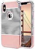 ULAK iPhone X Hülle, iPhone 10 hülle, Slim Dual Layer Anti-Rutsch Schutzmaänahmen Matte Rüstung Shell Fall für iPhone X/iPhone 10 5,8-Zoll 2017 Release minimale Streifen Roségold