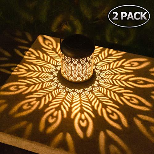 Solarlaterne für außen Solar Laterne für Draußen LED Garten Hängende Laternen Dekorative Gartenlaterne Wasserdicht mit Lichtempfindlichkeit für Haustür Veranda Rasen Hof Gehweg Auffahrt (2 Pack)