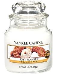 Yankee Candle 1205398 Bougies jarres petit parfumée Couverture douce Verre Blanc 6,5 x 6,2 x 8,8 cm