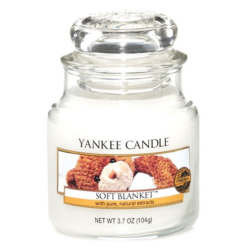 Yankee candle 1205398 Soft Blanket Candele in Giara Piccola, Vetro, Bianco, 6.5x6.2x8.8 cm