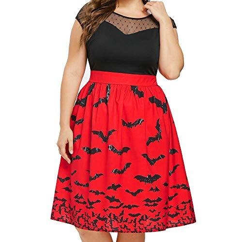 Wawer Halloween Dresses for Women  Women s Vintage Witch Bat Print Rockabilly Party Dress Retro Mesh Plus Size Sleeveless Halloween Swing Dress  UK 12-22  5XL UK 22  Red