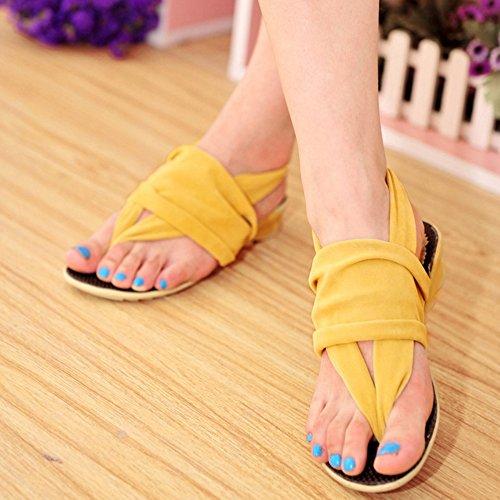 TAOFFEN Damen Mode Flip-Flop Sandalen Niedrig Keilabsatz Schuhe Beach Style Gelb