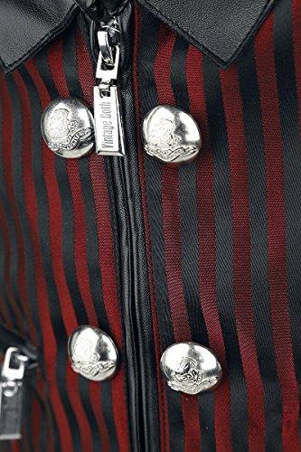 Vintage Goth Brokat Weste schwarz/rot Schwarz/Rot