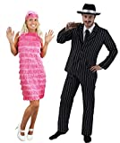 Déguisement Gangster pour des Couples - Y Compris: Déguisement Gangster Homme, Robe à bretelles Rose, Chapeaux Gangster, Cigar et Faux moustache