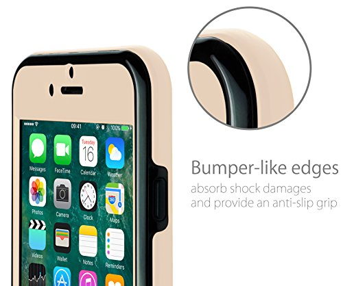 MyGadget TPU Silikon Hülle für - Apple iPhone 6 / 6s - ultra dünn (1 mm) inkl. Staubschutz Gummi Schutzhülle Cover Crystal Case Silikonhülle in Grau 360 Grad Beige