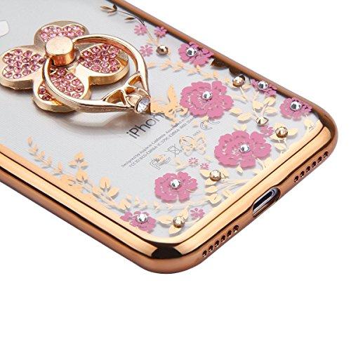 iPhone 7 Case Transparen Slim Silicone,iPhone 7 Coque Transparente Bling Silicone,iPhone 7 Coque Bumper,Coque Housse Etui pour iPhone 7 4.7 Pouce,EMAXELERS iPhone 7 Coque Cristall Silicone TPU Case Sl Bling Flower 2