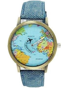 Souarts Damen Blau Weltkarte Armbanduhr Quartzuhr Analog Armreif Uhr mit Batterie