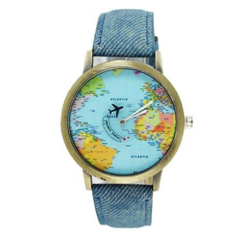 Souarts Damen Blau Weltkarte Armbanduhr Quartzuhr Analog Armreif Uhr mit Batterie (Blau Karte)