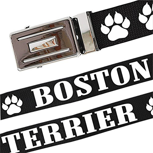 Gürtel mit Spruch Boston Terrier stufenlos verstellbar bis 140 cm Lang -