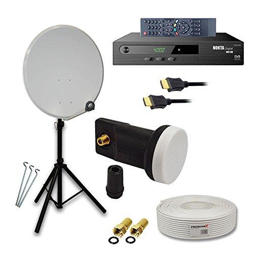 PremiumX Camping Komplett Sat Anlage Set 60cm Hellgrau Antenne mit SkyRevolt Single LNB + Dreibein Stativ Alu inkl. 3x Stahl-Heringe verzinkt + 10m Koax TV-Kabel mit F-Stecker + Full HD Digital Satelliten Receiver