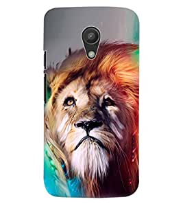 ColourCraft Lion Look Art Design Back Case Cover for MOTOROLA MOTO G2
