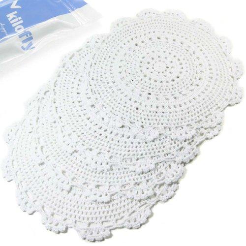 Kilofly piccolo rotondo fatto a mano all' uncinetto centrini in cotone per tazza/vetro valore pack [set di 4], medaglione, colore: bianco, cotone, white, 13 pollici