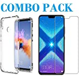 ADRY Tempered Glass & Bumper Transparent Back Cover_Combo Pack_ Premium Quality Screen Guard And Soft Case Cover For Huawei Honor 8X