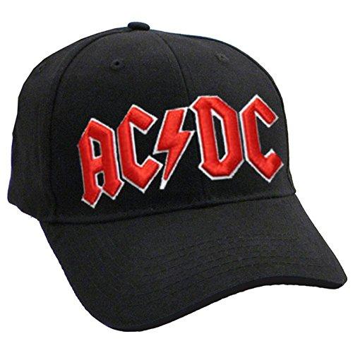 AC/DC Classic Rouge On Blanc band Logo nouveau Noir Frayed Casquette de baseball