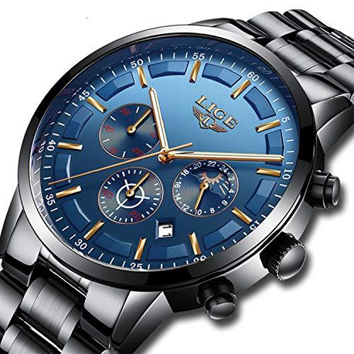 Lige Herren Uhr Analog Quarz mit Edelstahl Armband 1