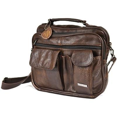 Leather Travel Bag with Carry Handle, Detachable Shoulder Strap and Mobile Phone Pocket (Dark Brown / Black / Tan). - inexpensive UK light shop.