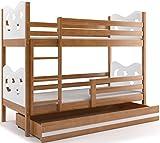 Etagenbett MIKO 160x80cm Farbe: Erle, mit Matratzen und Lattenroste (WEIβ)
