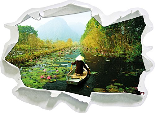 Yen-Stream auf dem Weg zum Huong Pagode Vietnam, Papier 3D-Wandsticker Format: 62x45 cm Wanddekoration 3D-Wandaufkleber Wandtattoo (Vietnam 3d)