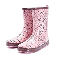 GOUPPER Waterproof Slip-on Women Rain Boots Easy On&Off Half-Height Wellies for Women Rubber Boots (Pink)