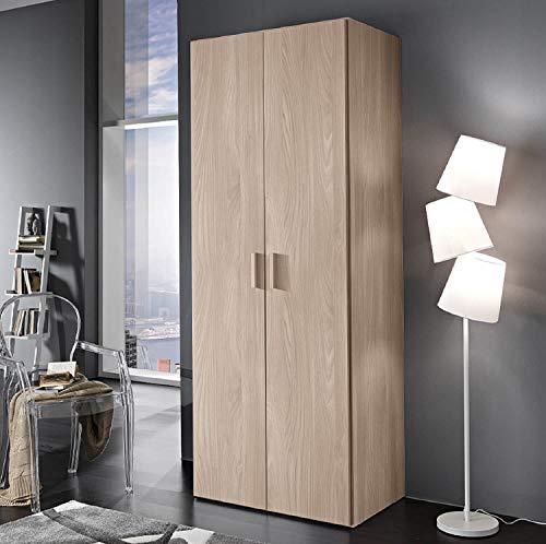 Zucca mobili armadio semplice h. 211 cm da 2 a 4 ante - made in italy (2 ante l.82,6 cm), olmo frida