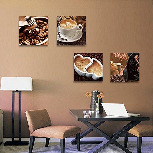 grano de café y taza de café lienzo Giclee impresiones cuadros arte enmarcado listo para colgar - 4 paneles de arte moderno pintura cuadros contemporáneos para cocina comedor de decoración del hogar