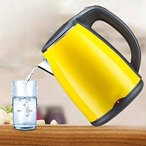 CAICOLORFUL Yellow Stainless Steel Electric Kettle Double Layer Anti-scald Home Use Kettle 1.2 Liters(size:height 215*width217mm) Electric Kettles