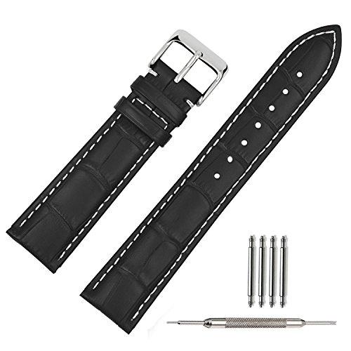 TStrap Uhrenarmband 20mm Leder Armbanduhr BANDS Premium Ballistic Uhrband Armband Edelstahl Schnalle (20mm, Schwarz Weiße Naht)